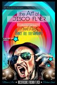pic of clubbing  - Disco Night Club Flyer layout with DJ shape and music themed elements to use for Event Poster - JPG