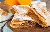 foto of pumpkin pie  - Sweet Pumpkin pie with vanilla and walnuts  - JPG