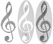 stock photo of clefs  - set of three abstract treble clefs from ovals and stripes isolated illustration - JPG