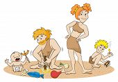 stock photo of cave-dweller  - vector illustration of a stone age family making fire - JPG