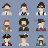 stock photo of pirates  - Set of avatars - JPG