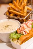 foto of lobster  - Traditional Lunch in Bar Harbor Maine of Lobster roll lobster bisque and french fries