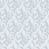 stock photo of fleur de lis  - White paper with outline extrude effect - JPG