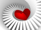 image of stairway  - The way to the heart 3d illustration metaphor with white spiral stairway and red heart sign - JPG