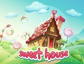 picture of gingerbread house  - Gingerbread House with the words sweet house - JPG