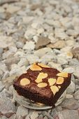 pic of brownie  - Brownies in a plate on the background of the stone - JPG