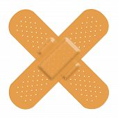 stock photo of bandage  - Adhesive bandage plaster cross to represent damage or pain and a solution - JPG