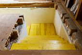 stock photo of stairway  - wooden formwork stairways on a building site - JPG