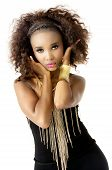 image of afro hair  - Beautiful African Female Model with Hands in Hair - JPG