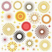 stock photo of greeting card design  - Vector Suns Set - JPG