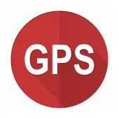 stock photo of gps  - gps red flat icon   - JPG
