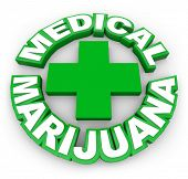 picture of marijuana leaf  - Medical Marijuana in green words around a plus sign to illustrate or advertise legal pot for sale by prescription to treat illness - JPG