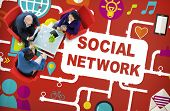 picture of social-security  - Social Network Internet Online Society Connecting Social Media Concept - JPG