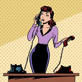 foto of communication  - Girl Secretary answers the phone progress and communication technology pop art comics retro style Halftone - JPG