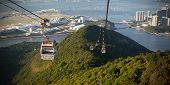 pic of lantau island  - Cable Car way to mountains above the river - JPG