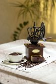 image of coffee coffee plant  - white tablecloth on the table or burlap old coffee grinder filled with coffee beans next to a white porcelain cup filled with coffee beans two croissants - JPG