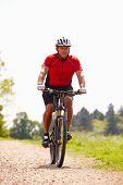 stock photo of bike path  - Man Riding Mountain Bike Along Path In Countryside - JPG