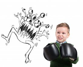image of ugly  - Pissed child faces an ugly monstrous virus - JPG