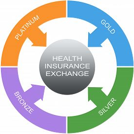 image of bronze silver gold platinum  - Health Insurance Exchange Word Circles Concept with great terms such as silver gold bronze and more - JPG