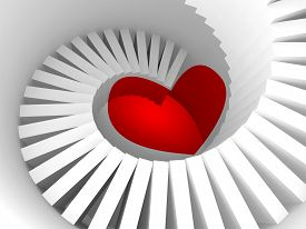 picture of stairway  - The way to the heart 3d illustration metaphor with white spiral stairway and red heart sign - JPG