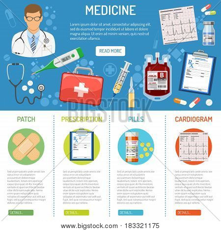 poster of medical and healthcare banner and infographics with flat icons like doctor, health treatment, blood transfusion, cardiogram, prescription. isolated vector illustration