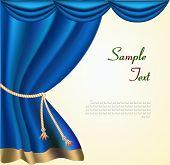 Постер, плакат: Элегантный театр занавес с золотой каймой Вектор