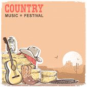 Country Music Background With Guitar And American Cowboy Equipment poster