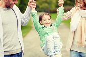 family, happiness, childhood and people concept - close up of happy mother, father and little girl w poster