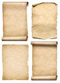Old paper scrolls and parchments set realistc 3d illustration poster