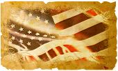stock photo of headstrong  - An Old and worn American flag Transposed onto a classic Parchment background - JPG