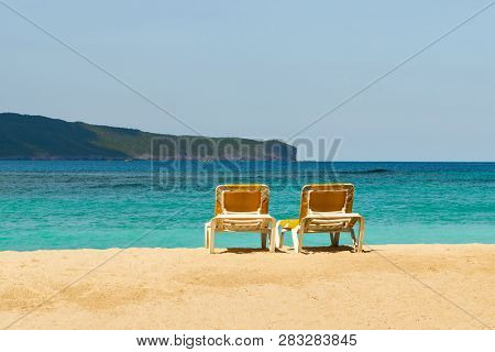 poster of Travel Vacation Tropical Destination. Perfect Tropical Beach Landscape. Travel Vacations Destination