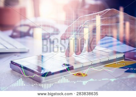 poster of Stock Market Graph And Business Financial Data On Led. Business Graph And Stock Financial Indicator.