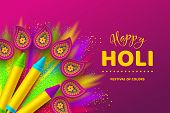 Happy Holi Colorful Background For Celebration Hindu Festival Of Colors. 3d Realistic Holi Pichkari  poster