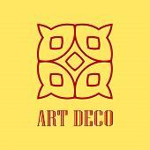 Geometric Ornamental Retro Vintage Art Deco Logo For Design And Decoration. Vintage Retro Ornamental poster