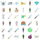 War Icons Set. Cartoon Style Of 36 War Icons For Web Isolated On White Background poster