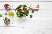 Spinach, Apple Salad With Pomegranate Seeds poster