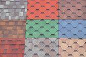 Soft Roof, Roof Tiles, Flexible Shingles. Roof Tiling Texture. Flexible, Soft Bituminous Composite poster