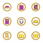 Library Icons Set. Cartoon Set Of 9 Library Icons For Web Isolated On White Background poster