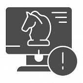 Trojan Virus Solid Icon. Horse On Desktop Vector Illustration Isolated On White. Computer Virus Glyp poster