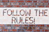 Handwriting Text Writing Follow The Rules. Concept Meaning Act In Agreement Or Compliance With Obey  poster