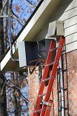 pic of hookup  - ladder up to cable boxes, hu