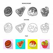 Vector Illustration Of Confectionery And Culinary Symbol. Set Of Confectionery And Product Stock Sym poster