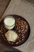 Chufa Milk And Tigernut Flour. Alternative Type Of Milks. Vegan Non-dairy Milk. Lactose-free Milk An poster