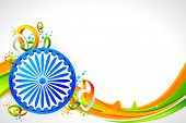 pic of ashok  - illustration of Ashok wheel on abstract tricolor Indian flag background - JPG