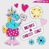 Funny Cartoon Summer Unicorn With Snorkel Mask And Fins And In Swimshorts Holding The Sign Ok Heart, poster