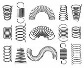 Metal Springs. Vector Metallic Spiral And Coil Spring Icons, Compacted Steel Springs Silhouette Symb poster