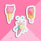 Cute Funny Girl Teenager Colored Icon Sticker Set, Fashion Cute Teen And Princess Icons. Magic Fun C poster