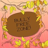 Text Sign Showing Bully Free Zone. Conceptual Photo Be Respectful To Other Bullying Is Not Allowed H poster