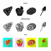 Vector Design Of Confectionery And Culinary Symbol. Set Of Confectionery And Product Vector Icon For poster