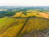 Panoramic Aerial View Of Fields, Road And River. Birds-eye View Of The Land With Fields, Meadows And poster